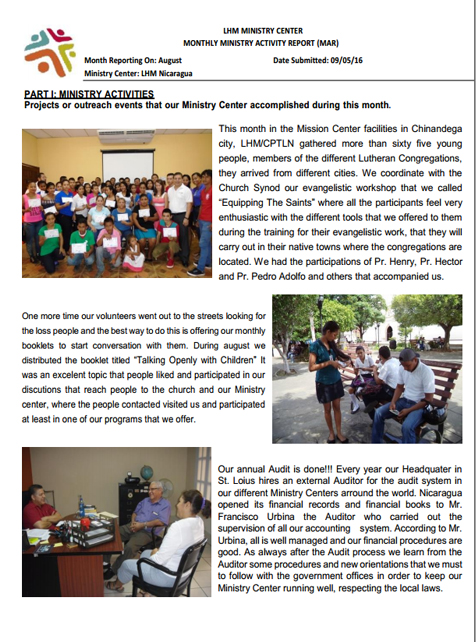 08 LHM Nicaragua August Newsletter 2016